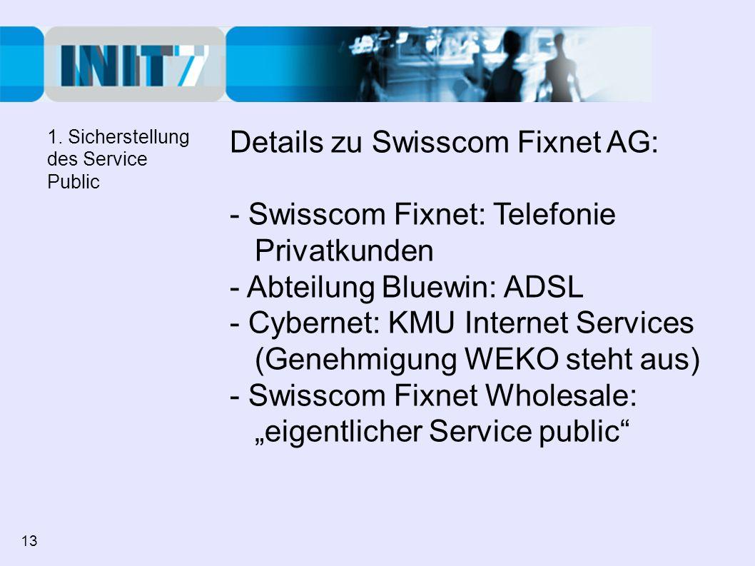 Details zu Swisscom Fixnet AG: - Swisscom Fixnet: Telefonie Privatkunden - Abteilung Bluewin: ADSL - Cybernet: KMU Internet Services (Genehmigung WEKO