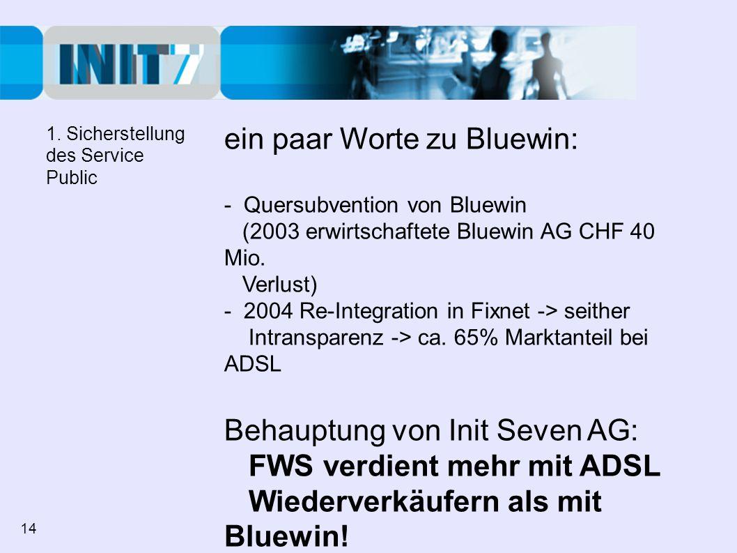 ein paar Worte zu Bluewin: - Quersubvention von Bluewin (2003 erwirtschaftete Bluewin AG CHF 40 Mio. Verlust) - 2004 Re-Integration in Fixnet -> seith