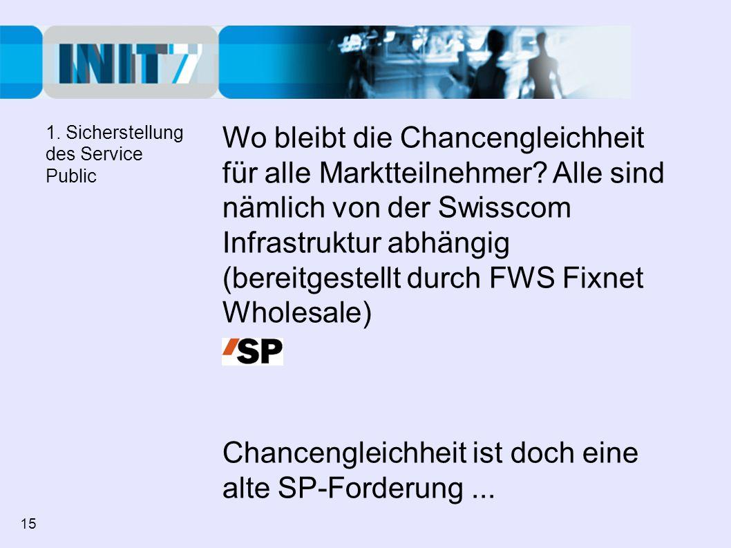 Wo bleibt die Chancengleichheit für alle Marktteilnehmer? Alle sind nämlich von der Swisscom Infrastruktur abhängig (bereitgestellt durch FWS Fixnet W