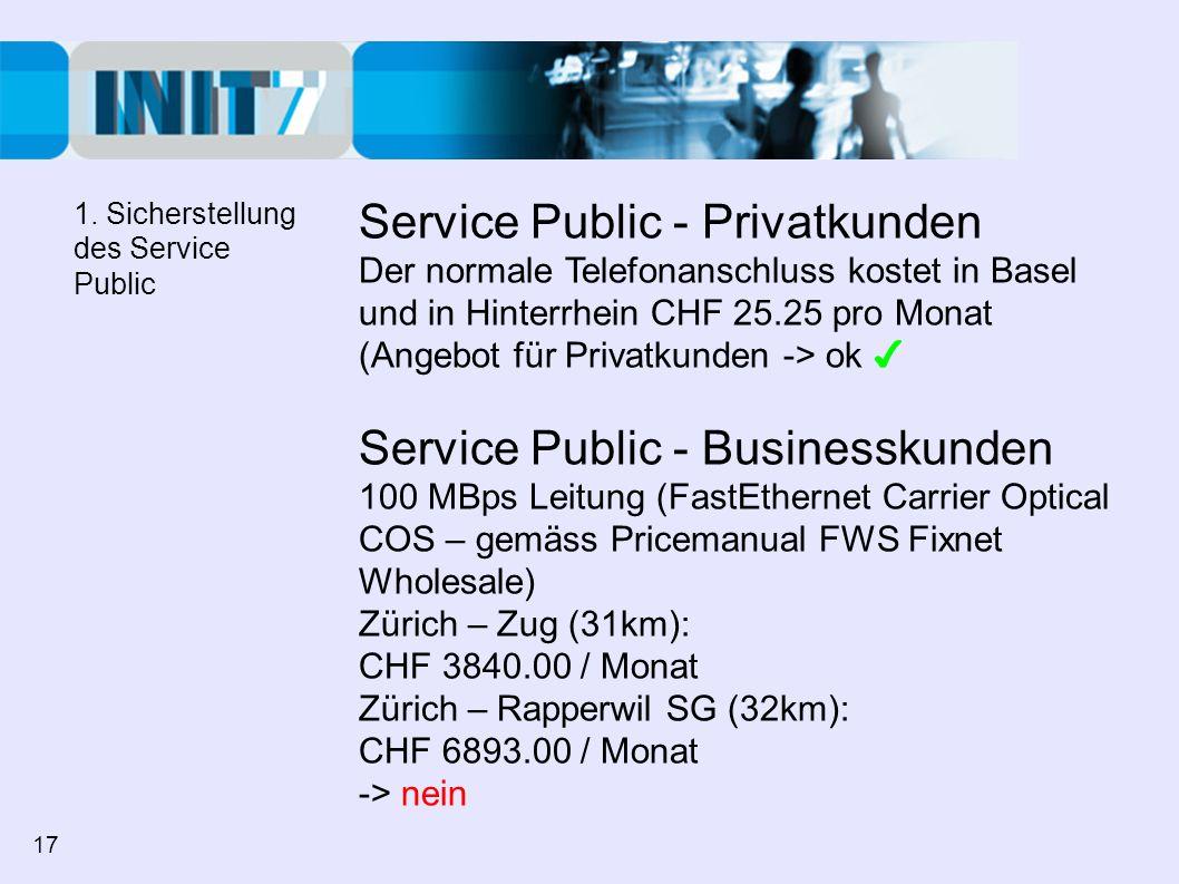 Service Public - Privatkunden Der normale Telefonanschluss kostet in Basel und in Hinterrhein CHF 25.25 pro Monat (Angebot für Privatkunden -> ok Serv