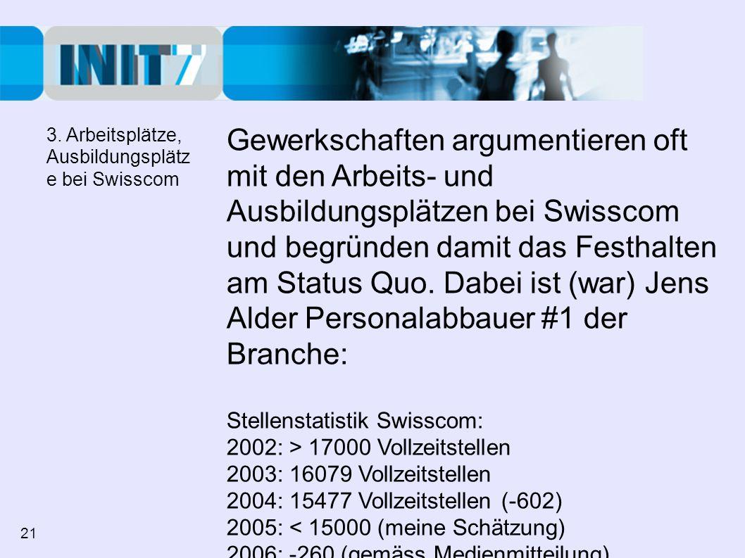 Gewerkschaften argumentieren oft mit den Arbeits- und Ausbildungsplätzen bei Swisscom und begründen damit das Festhalten am Status Quo. Dabei ist (war