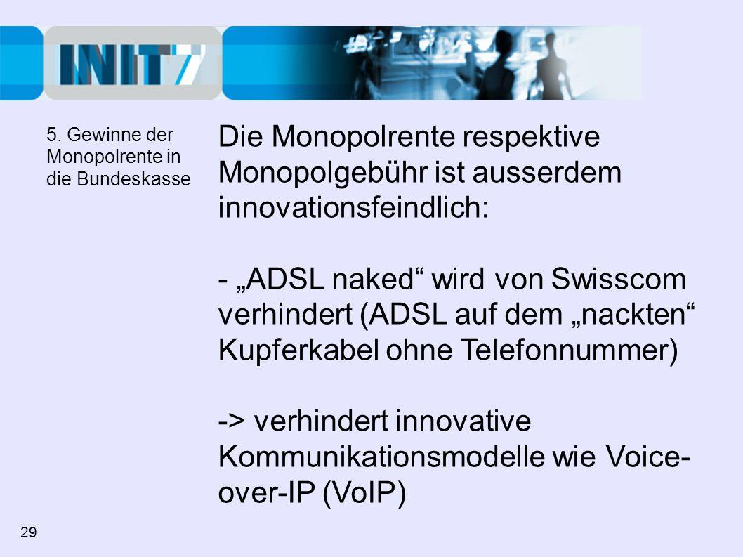 Die Monopolrente respektive Monopolgebühr ist ausserdem innovationsfeindlich: - ADSL naked wird von Swisscom verhindert (ADSL auf dem nackten Kupferka