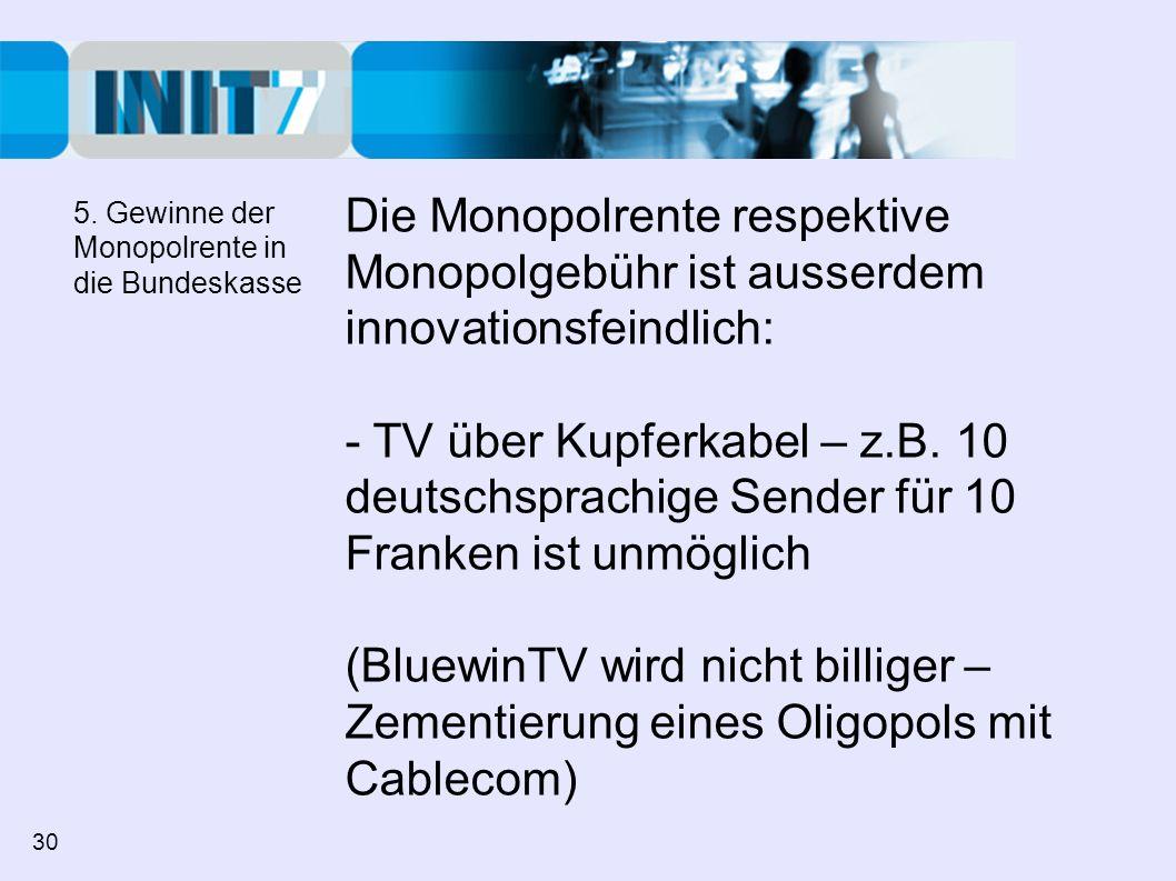 Die Monopolrente respektive Monopolgebühr ist ausserdem innovationsfeindlich: - TV über Kupferkabel – z.B. 10 deutschsprachige Sender für 10 Franken i