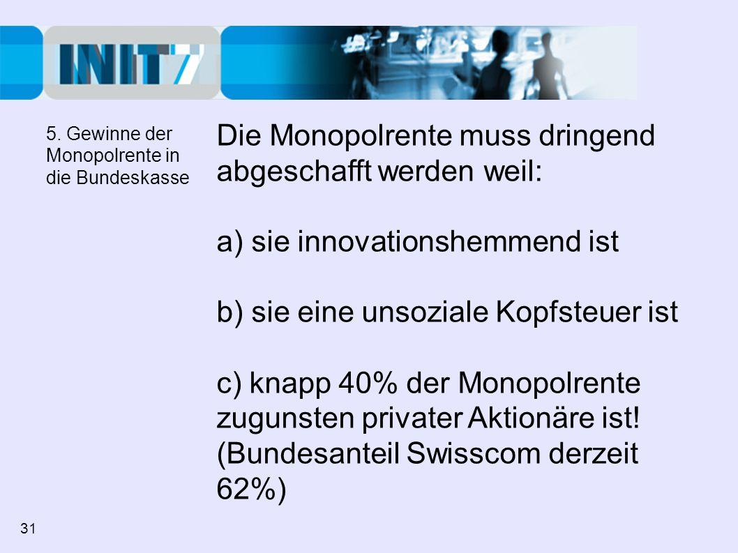 Die Monopolrente muss dringend abgeschafft werden weil: a) sie innovationshemmend ist b) sie eine unsoziale Kopfsteuer ist c) knapp 40% der Monopolren