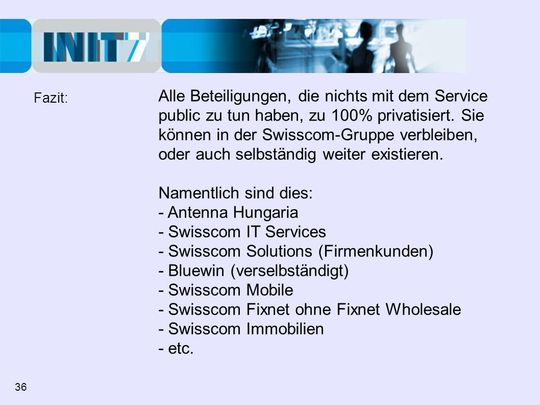 Alle Beteiligungen, die nichts mit dem Service public zu tun haben, zu 100% privatisiert. Sie können in der Swisscom-Gruppe verbleiben, oder auch selb