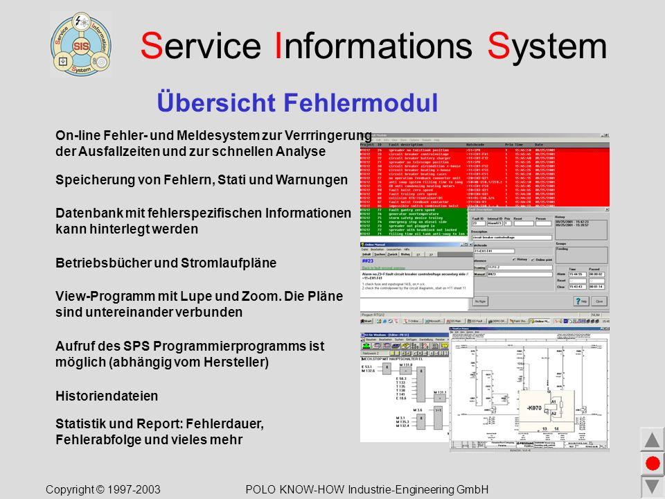Service Informations System Übersicht Fehlermodul Speicherung von Fehlern, Stati und Warnungen View-Programm mit Lupe und Zoom.