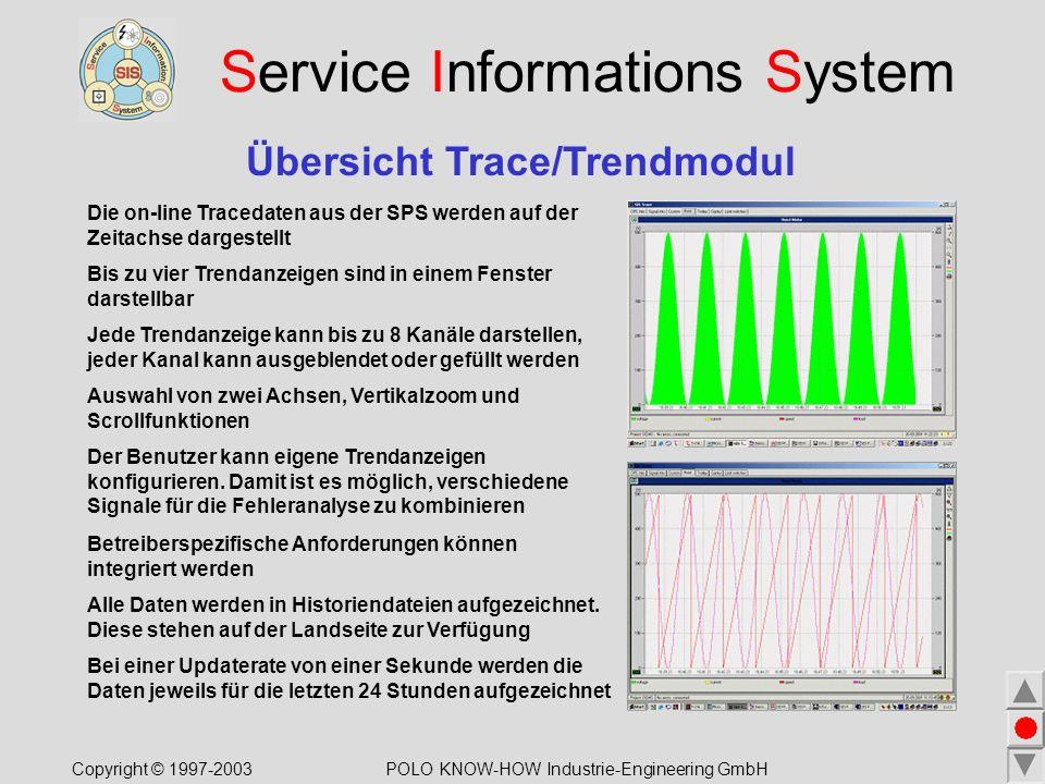 Service Informations System Übersicht Trace/Trendmodul Die on-line Tracedaten aus der SPS werden auf der Zeitachse dargestellt Bis zu vier Trendanzeigen sind in einem Fenster darstellbar Der Benutzer kann eigene Trendanzeigen konfigurieren.