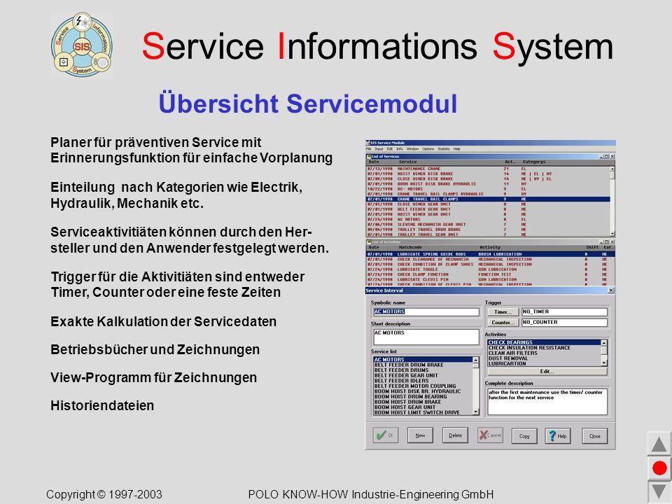 Service Informations System Übersicht Servicemodul Planer für präventiven Service mit Erinnerungsfunktion für einfache Vorplanung Einteilung nach Kategorien wie Electrik, Hydraulik, Mechanik etc.