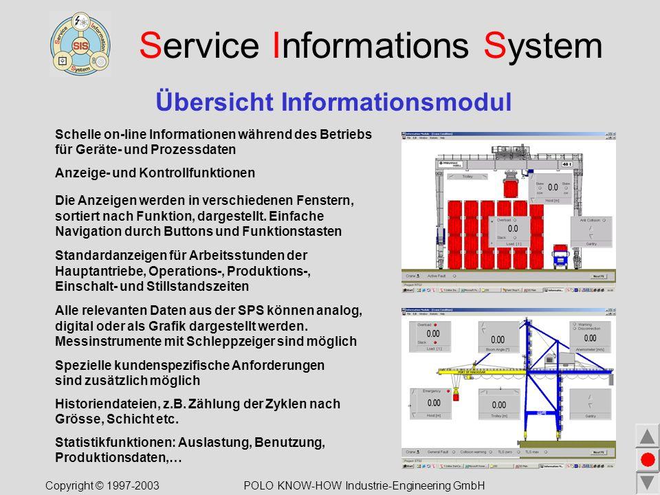 Service Informations System Übersicht Informationsmodul Schelle on-line Informationen während des Betriebs für Geräte- und Prozessdaten Anzeige- und Kontrollfunktionen Alle relevanten Daten aus der SPS können analog, digital oder als Grafik dargestellt werden.