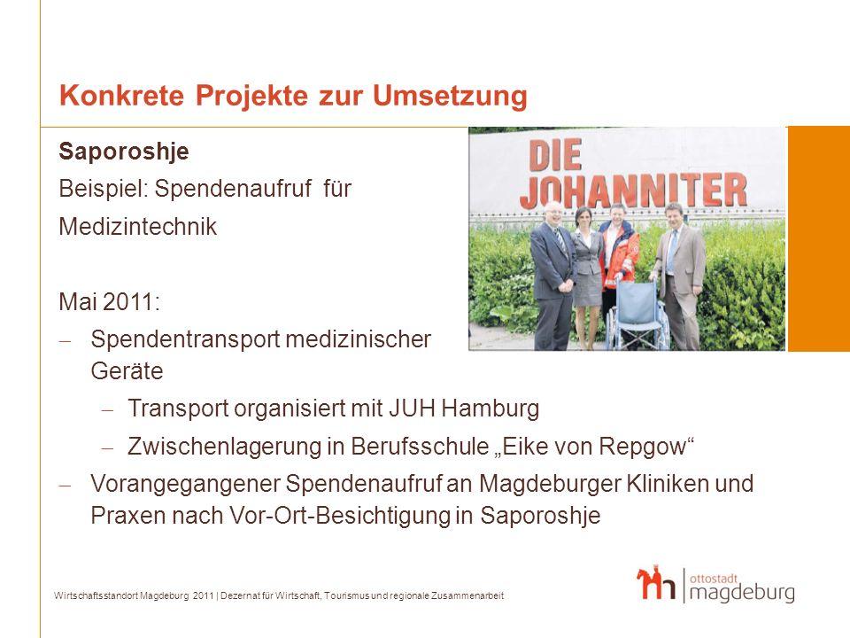 Konkrete Projekte zur Umsetzung Saporoshje Beispiel: Spendenaufruf für Medizintechnik Mai 2011: Spendentransport medizinischer Geräte Transport organi
