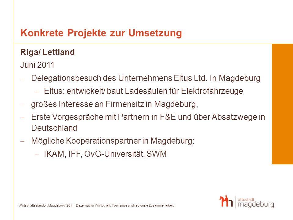 Konkrete Projekte zur Umsetzung Riga/ Lettland Juni 2011 Delegationsbesuch des Unternehmens Eltus Ltd. In Magdeburg Eltus: entwickelt/ baut Ladesäulen
