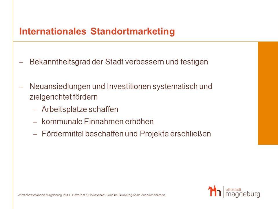 Internationales Standortmarketing Bekanntheitsgrad der Stadt verbessern und festigen Neuansiedlungen und Investitionen systematisch und zielgerichtet