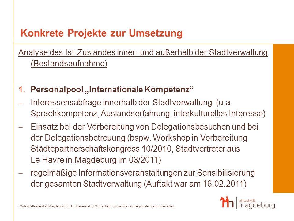 Konkrete Projekte zur Umsetzung Analyse des Ist-Zustandes inner- und außerhalb der Stadtverwaltung (Bestandsaufnahme) 1.Personalpool Internationale Ko
