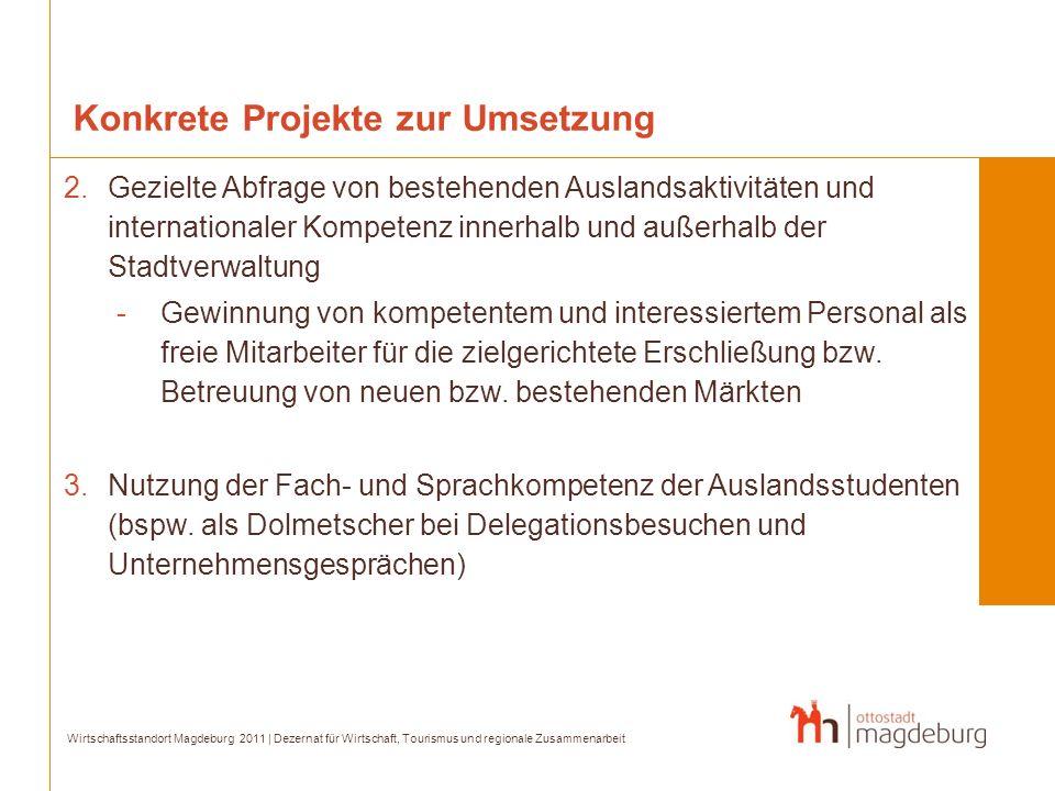 Konkrete Projekte zur Umsetzung 2.Gezielte Abfrage von bestehenden Auslandsaktivitäten und internationaler Kompetenz innerhalb und außerhalb der Stadt