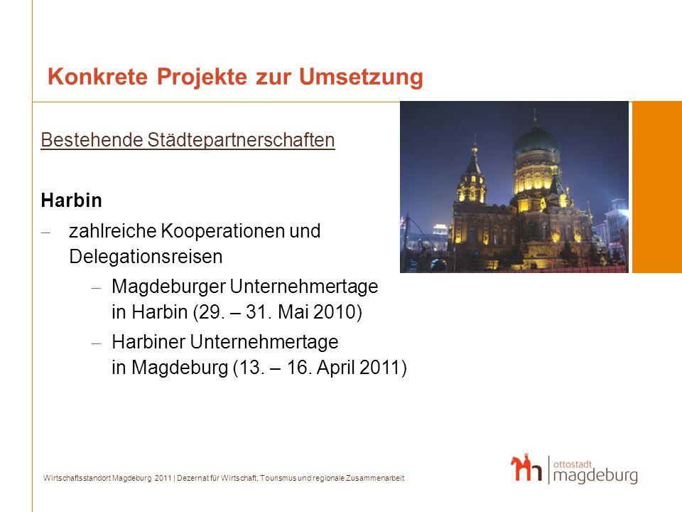 Konkrete Projekte zur Umsetzung Wirtschaftsstandort Magdeburg 2011 | Dezernat für Wirtschaft, Tourismus und regionale Zusammenarbeit Bestehende Städte