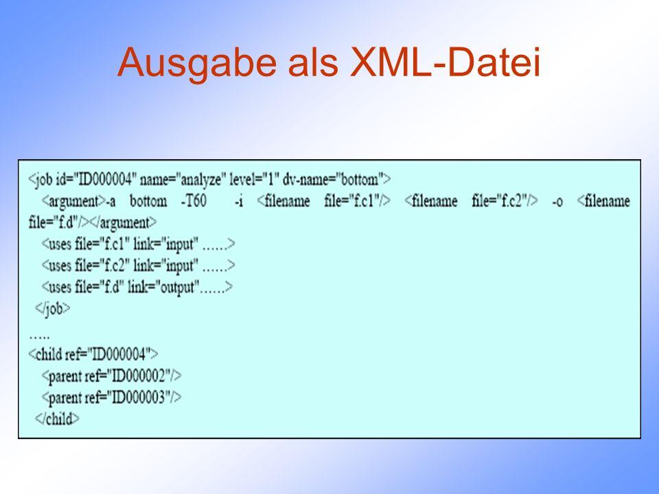 Ausgabe als XML-Datei