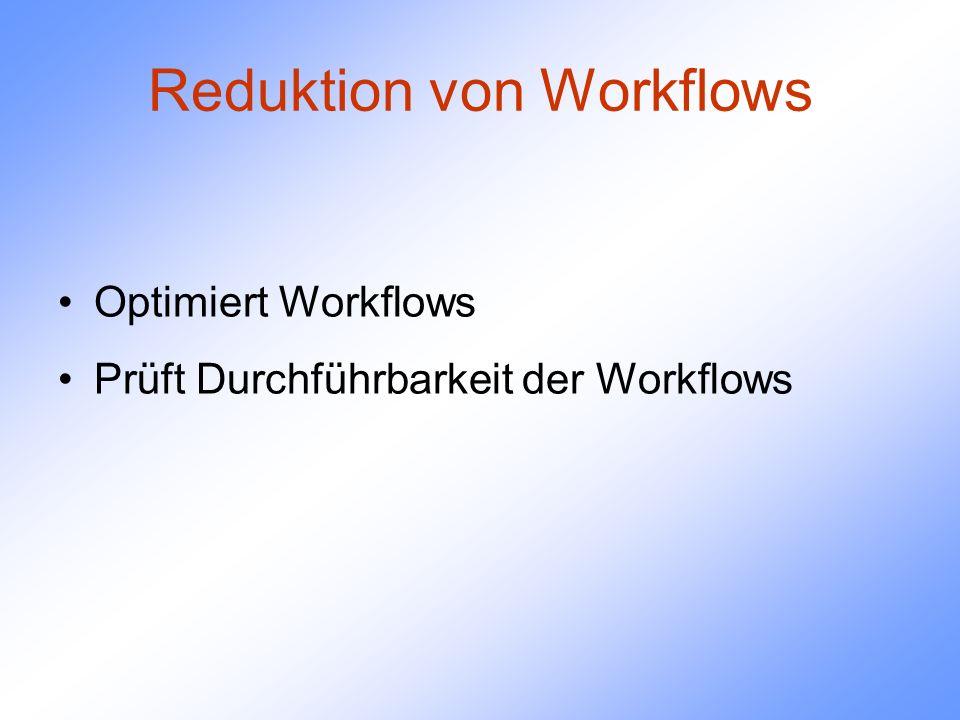 Reduktion von Workflows Optimiert Workflows Prüft Durchführbarkeit der Workflows