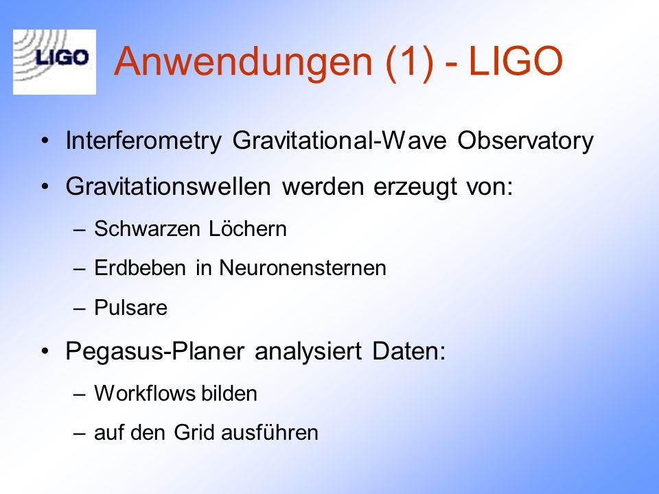 Anwendungen (1) - LIGO Interferometry Gravitational-Wave Observatory Gravitationswellen werden erzeugt von: –Schwarzen Löchern –Erdbeben in Neuronensternen –Pulsare Pegasus-Planer analysiert Daten: –Workflows bilden –auf den Grid ausführen