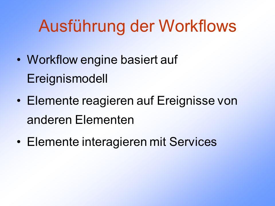 Ausführung der Workflows Workflow engine basiert auf Ereignismodell Elemente reagieren auf Ereignisse von anderen Elementen Elemente interagieren mit Services