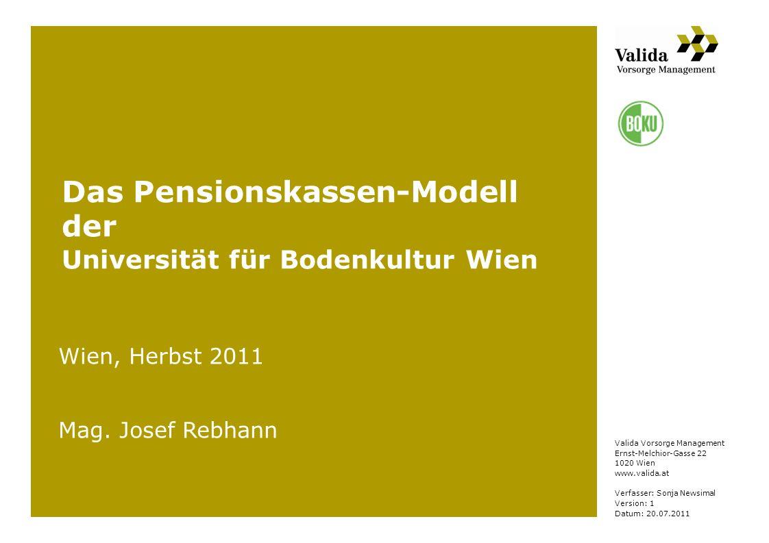 Valida Vorsorge Management Ernst-Melchior-Gasse 22 1020 Wien www.valida.at Verfasser: Sonja Newsimal Version: 1 Datum: 20.07.2011 Das Pensionskassen-M
