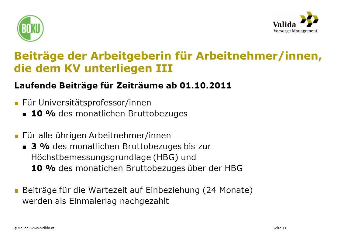 Seite 11© Valida, www.valida.at Beiträge der Arbeitgeberin für Arbeitnehmer/innen, die dem KV unterliegen III Laufende Beiträge für Zeiträume ab 01.10