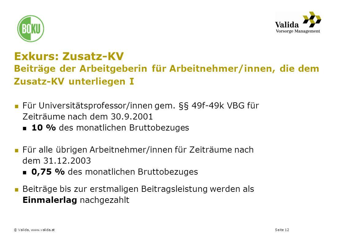 Seite 12© Valida, www.valida.at Exkurs: Zusatz-KV Beiträge der Arbeitgeberin für Arbeitnehmer/innen, die dem Zusatz-KV unterliegen I Für Universitätsp