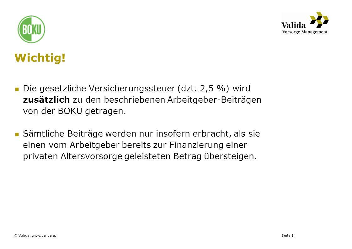 Seite 14© Valida, www.valida.at Wichtig! Die gesetzliche Versicherungssteuer (dzt. 2,5 %) wird zusätzlich zu den beschriebenen Arbeitgeber-Beiträgen v