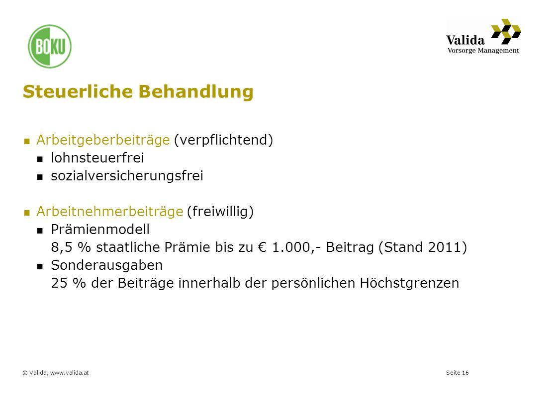 Seite 16© Valida, www.valida.at Steuerliche Behandlung Arbeitgeberbeiträge (verpflichtend) lohnsteuerfrei sozialversicherungsfrei Arbeitnehmerbeiträge