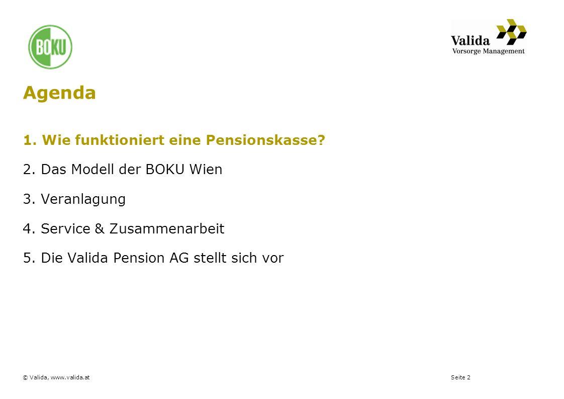Seite 2© Valida, www.valida.at 1. Wie funktioniert eine Pensionskasse? 2. Das Modell der BOKU Wien 3. Veranlagung 4. Service & Zusammenarbeit 5. Die V