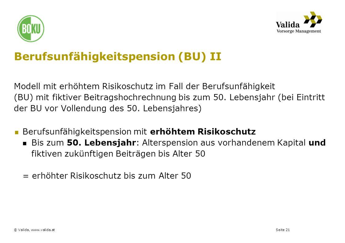 Seite 21© Valida, www.valida.at Berufsunfähigkeitspension (BU) II Modell mit erhöhtem Risikoschutz im Fall der Berufsunfähigkeit (BU) mit fiktiver Bei