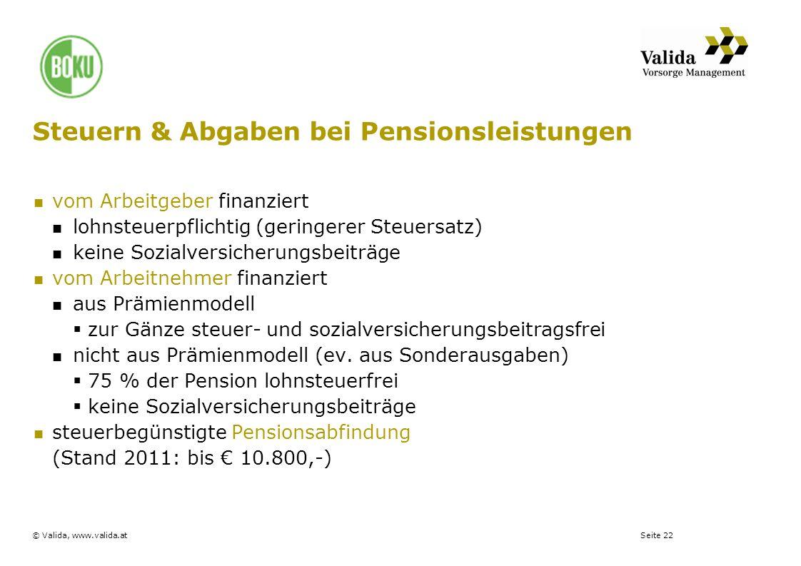 Seite 22© Valida, www.valida.at Steuern & Abgaben bei Pensionsleistungen vom Arbeitgeber finanziert lohnsteuerpflichtig (geringerer Steuersatz) keine