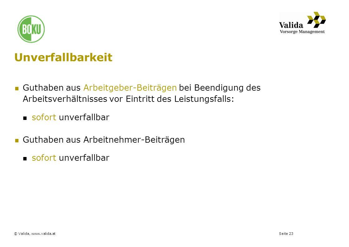 Seite 23© Valida, www.valida.at Unverfallbarkeit Guthaben aus Arbeitgeber-Beiträgen bei Beendigung des Arbeitsverhältnisses vor Eintritt des Leistungs