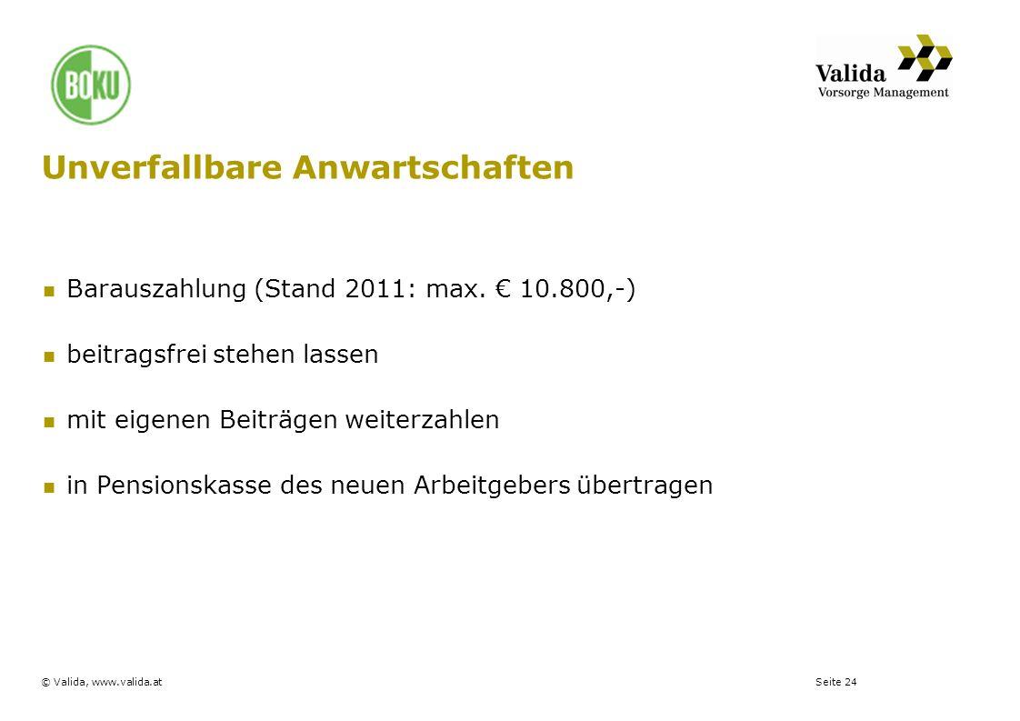Seite 24© Valida, www.valida.at Unverfallbare Anwartschaften Barauszahlung (Stand 2011: max. 10.800,-) beitragsfrei stehen lassen mit eigenen Beiträge