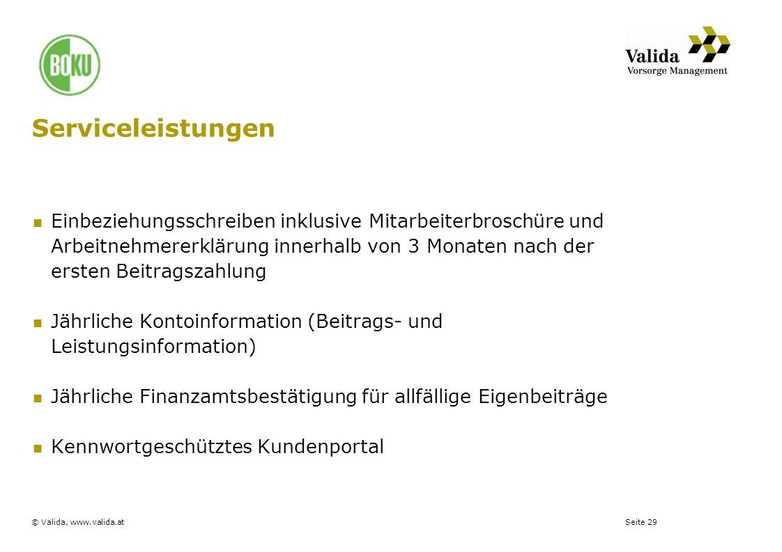Seite 29© Valida, www.valida.at Serviceleistungen Einbeziehungsschreiben inklusive Mitarbeiterbroschüre und Arbeitnehmererklärung innerhalb von 3 Mona
