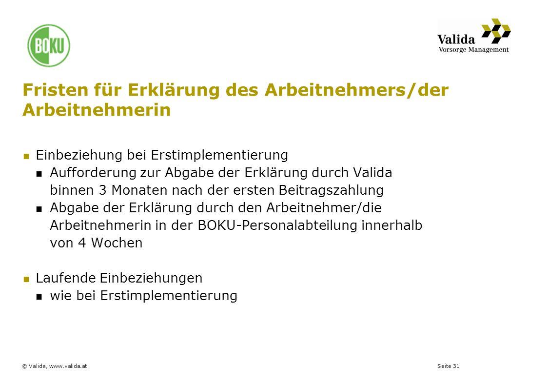Seite 31© Valida, www.valida.at Fristen für Erklärung des Arbeitnehmers/der Arbeitnehmerin Einbeziehung bei Erstimplementierung Aufforderung zur Abgab