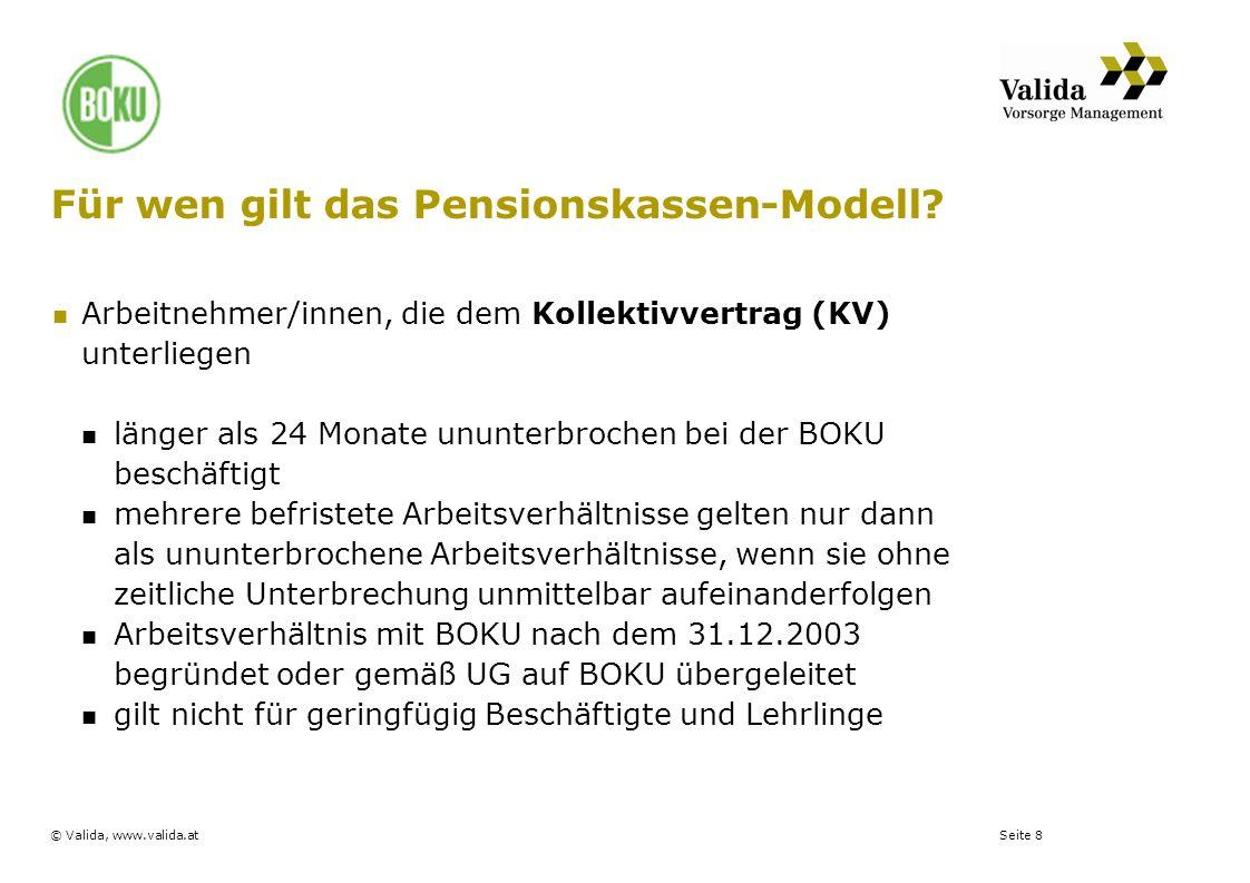 Seite 8© Valida, www.valida.at Für wen gilt das Pensionskassen-Modell? Arbeitnehmer/innen, die dem Kollektivvertrag (KV) unterliegen länger als 24 Mon