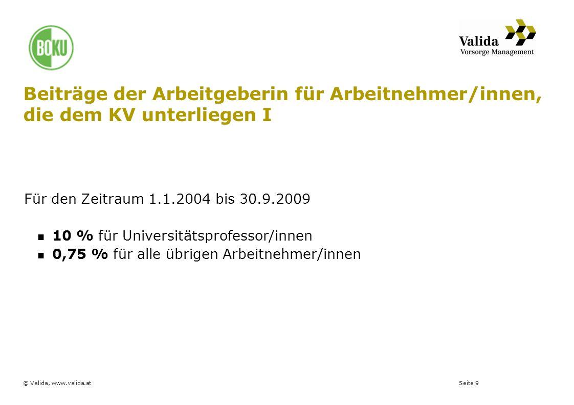 Seite 9© Valida, www.valida.at Beiträge der Arbeitgeberin für Arbeitnehmer/innen, die dem KV unterliegen I Für den Zeitraum 1.1.2004 bis 30.9.2009 10
