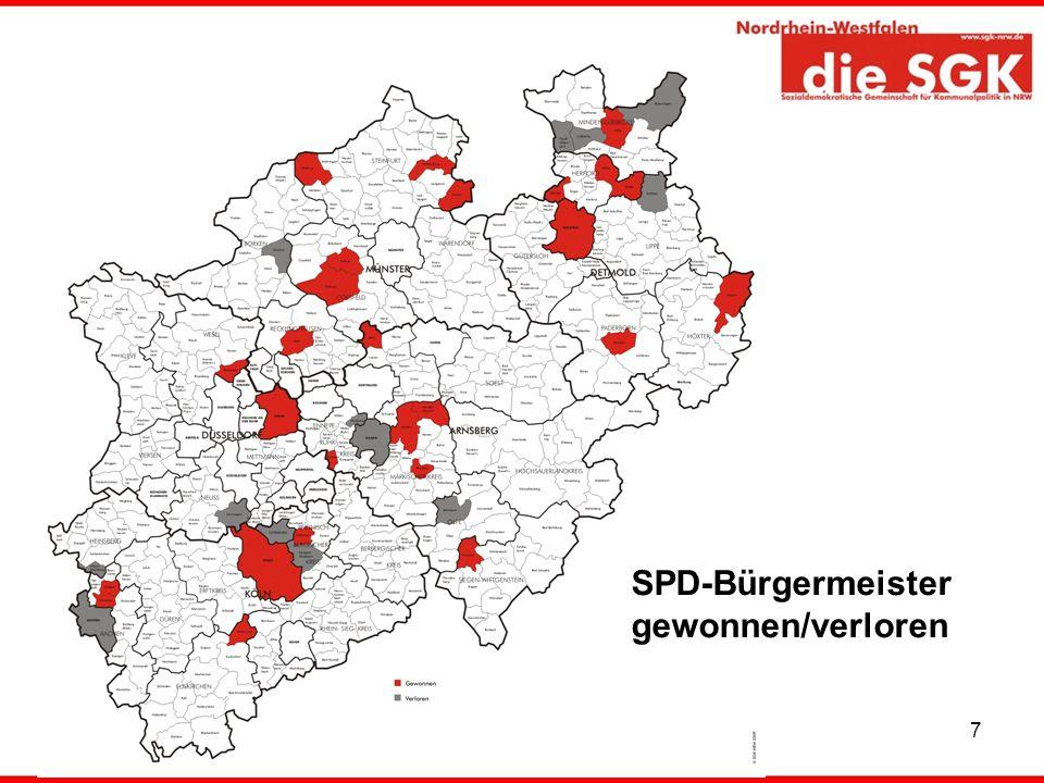 7 SPD-Bürgermeister gewonnen/verloren