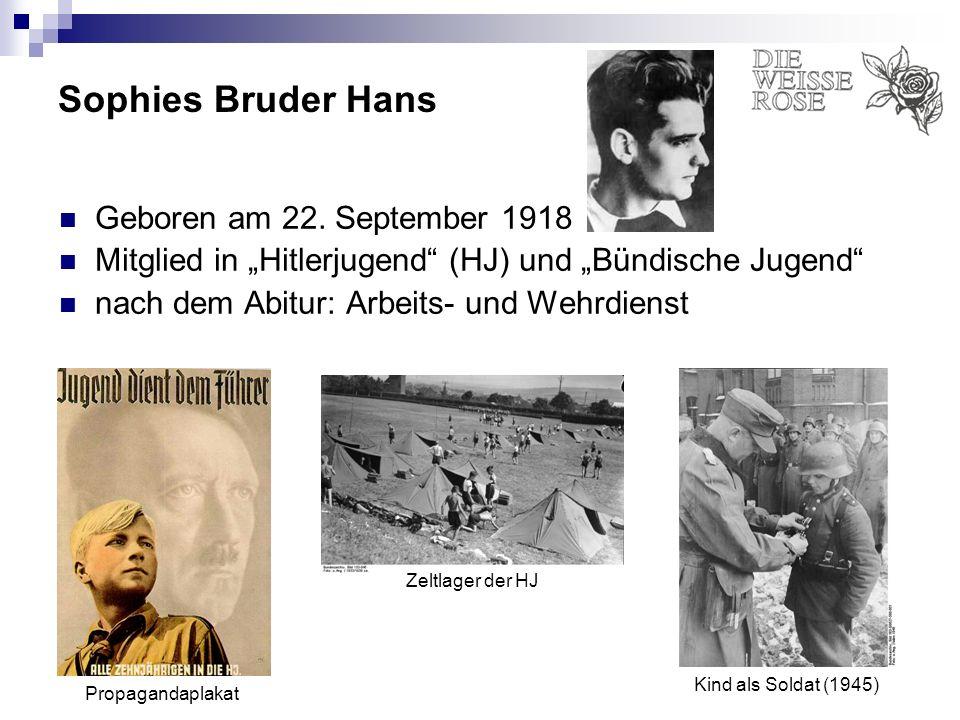 Sophies Bruder Hans Geboren am 22. September 1918 Mitglied in Hitlerjugend (HJ) und Bündische Jugend nach dem Abitur: Arbeits- und Wehrdienst Propagan