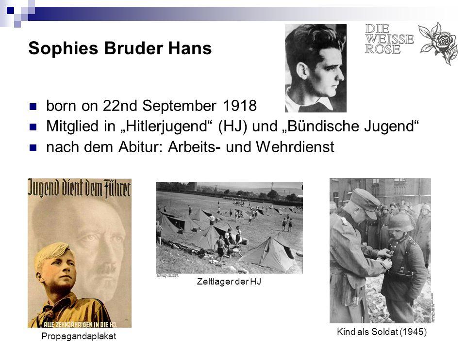 Sophies Bruder Hans born on 22nd September 1918 Mitglied in Hitlerjugend (HJ) und Bündische Jugend nach dem Abitur: Arbeits- und Wehrdienst Propaganda