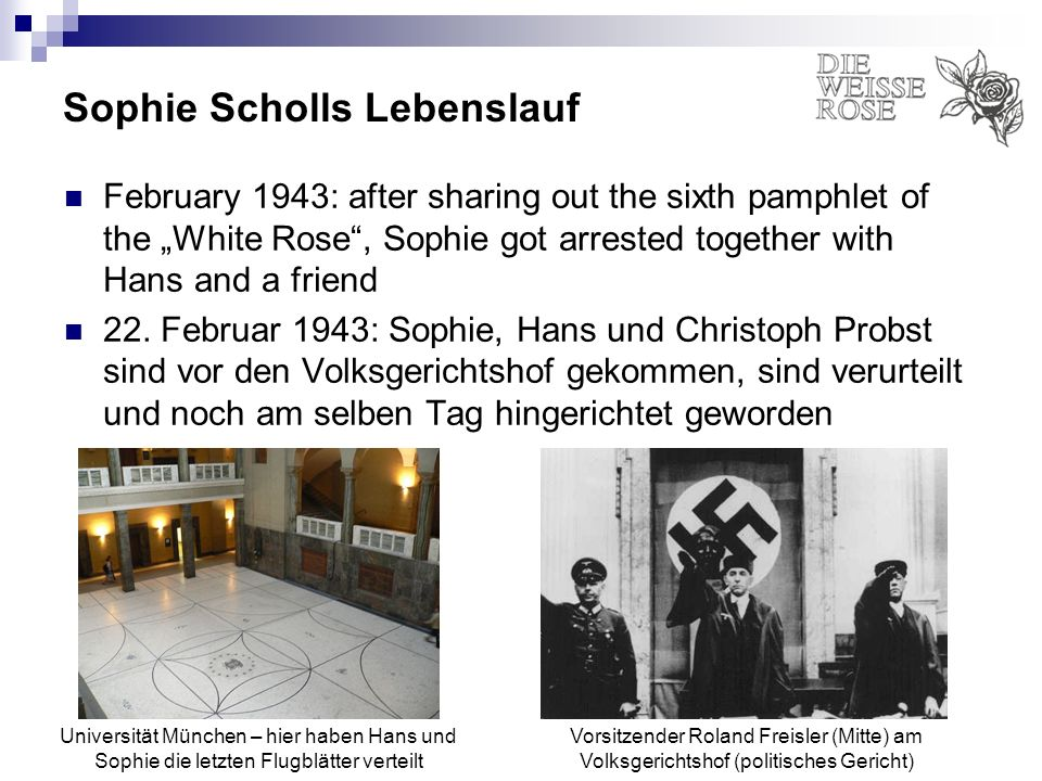 Sophie Scholls Lebenslauf February 1943: after sharing out the sixth pamphlet of the White Rose, Sophie got arrested together with Hans and a friend 2
