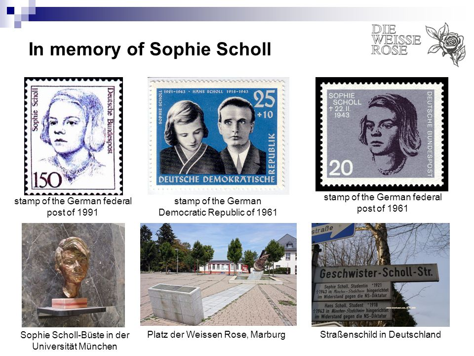 In memory of Sophie Scholl stamp of the German Democratic Republic of 1961 stamp of the German federal post of 1961 stamp of the German federal post o