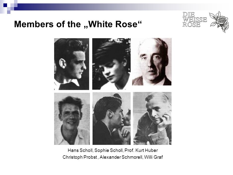 Members of the White Rose Hans Scholl, Sophie Scholl, Prof. Kurt Huber Christoph Probst, Alexander Schmorell, Willi Graf