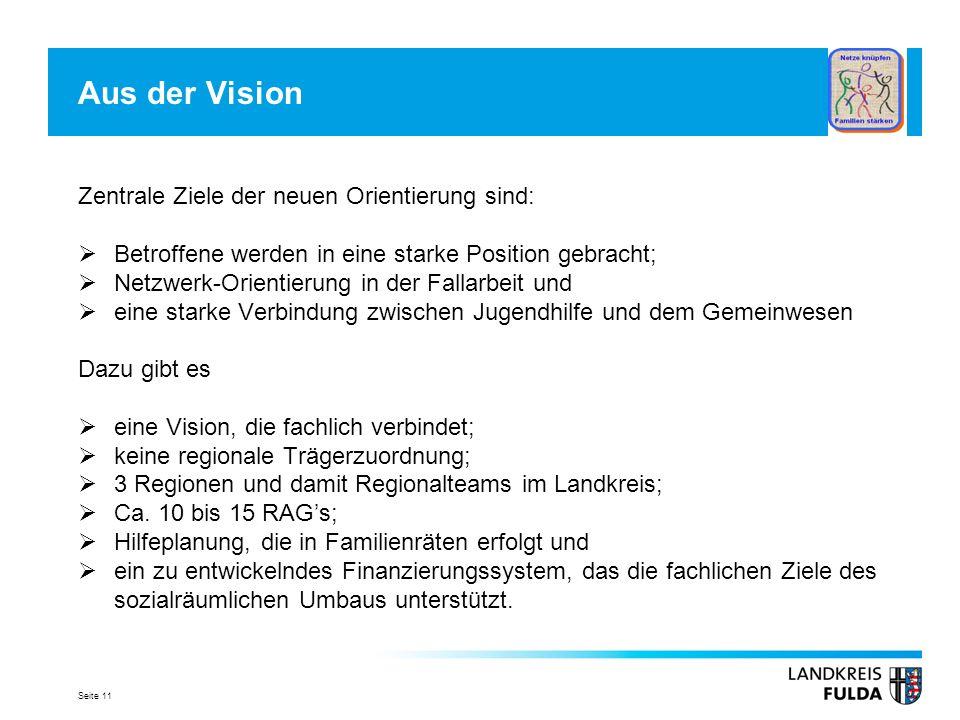 Seite 11 Aus der Vision Zentrale Ziele der neuen Orientierung sind: Betroffene werden in eine starke Position gebracht; Netzwerk-Orientierung in der F