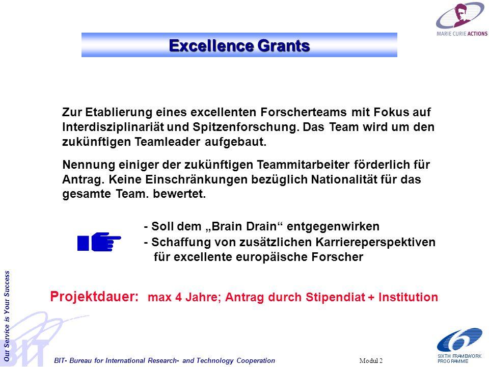 BIT- Bureau for International Research- and Technology Cooperation Our Service is Your Success Modul 2 Zur Etablierung eines excellenten Forscherteams mit Fokus auf Interdisziplinariät und Spitzenforschung.