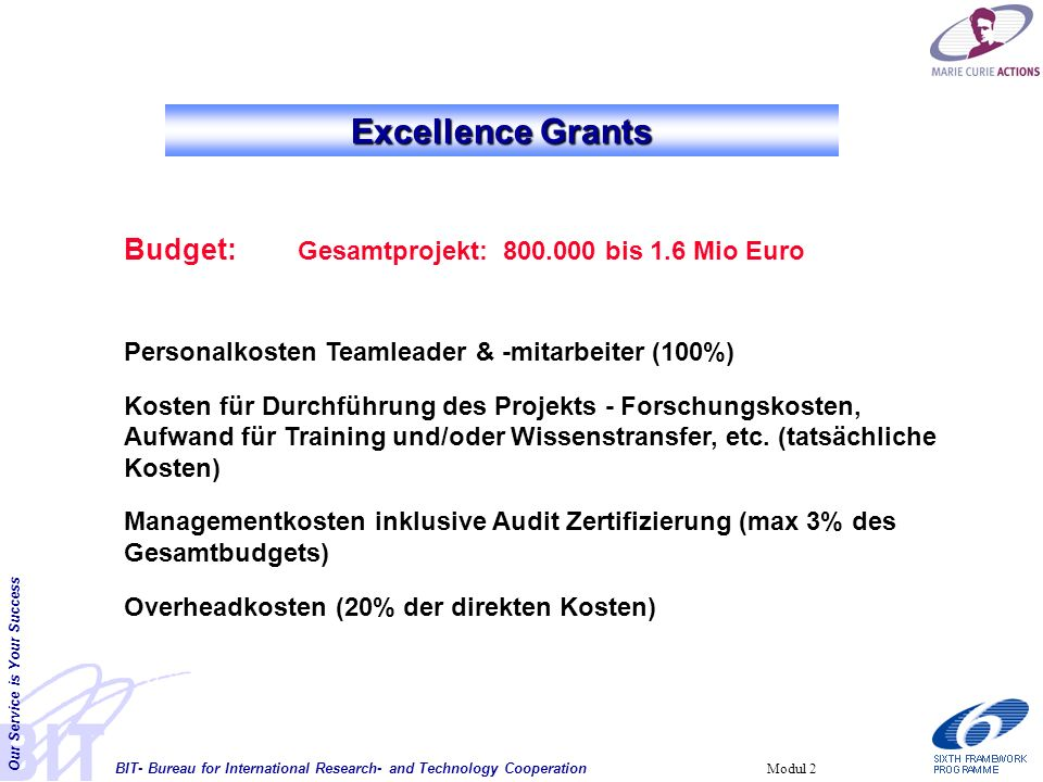 BIT- Bureau for International Research- and Technology Cooperation Our Service is Your Success Modul 2 Excellence Grants Budget: Gesamtprojekt: 800.00