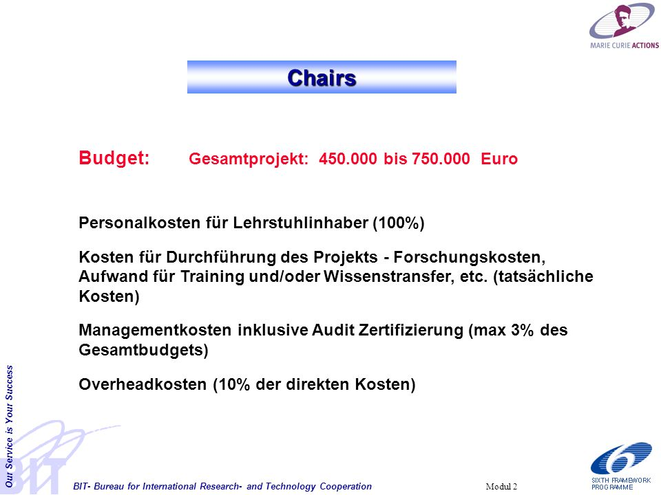 BIT- Bureau for International Research- and Technology Cooperation Our Service is Your Success Modul 2 Chairs Budget: Gesamtprojekt: 450.000 bis 750.0