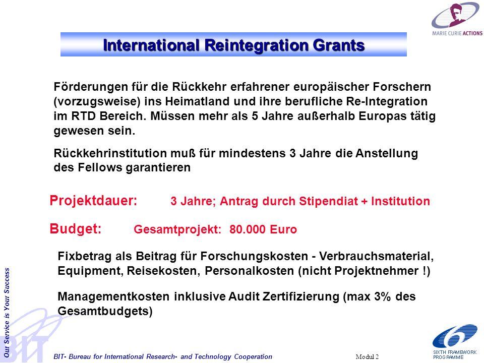 BIT- Bureau for International Research- and Technology Cooperation Our Service is Your Success Modul 2 Förderungen für die Rückkehr erfahrener europäischer Forschern (vorzugsweise) ins Heimatland und ihre berufliche Re-Integration im RTD Bereich.