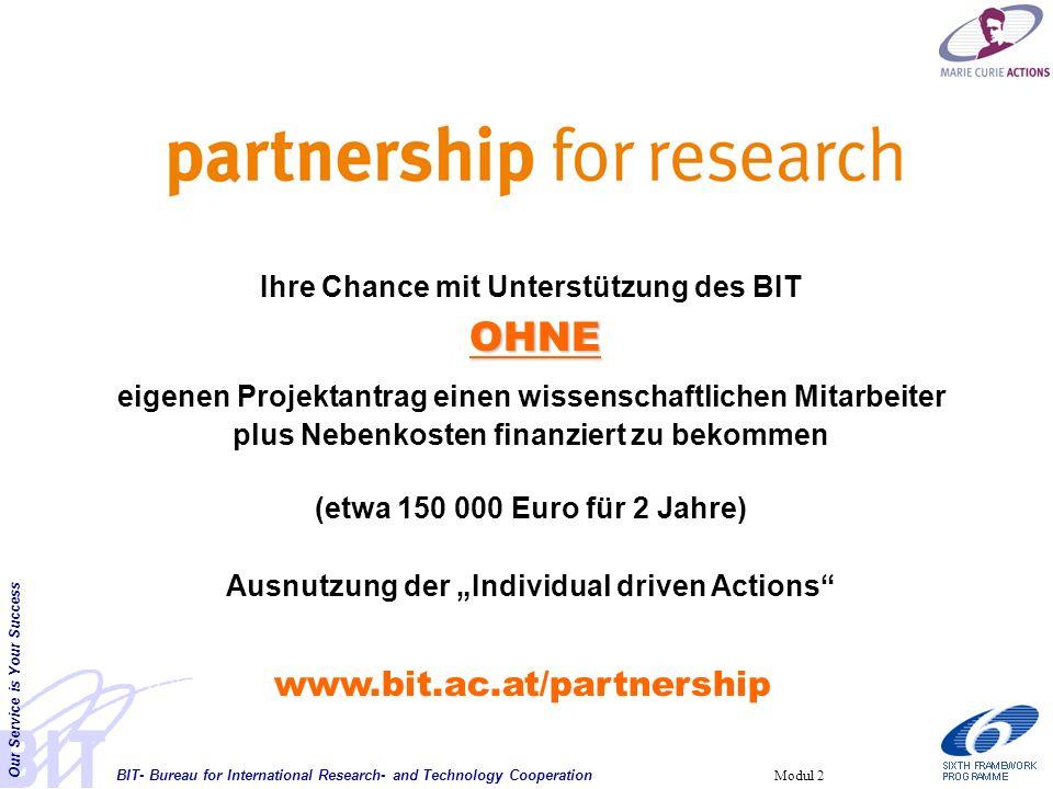 BIT- Bureau for International Research- and Technology Cooperation Our Service is Your Success Modul 2 Ihre Chance mit Unterstützung des BIT OHNE eige