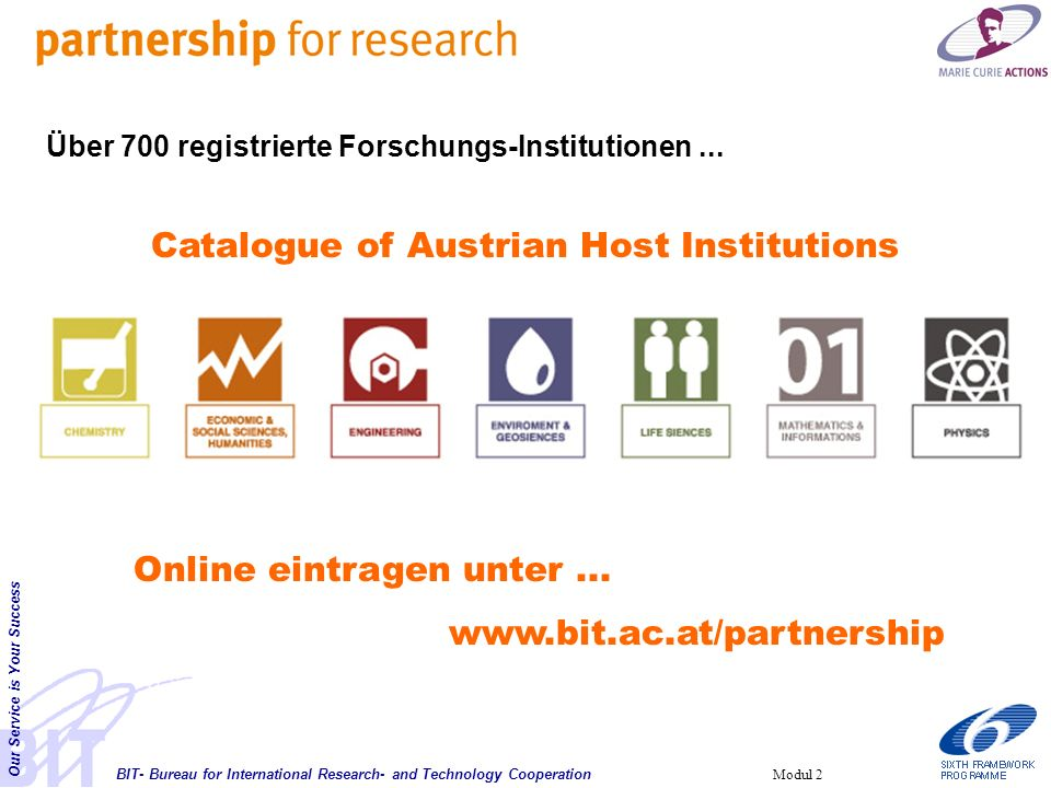 BIT- Bureau for International Research- and Technology Cooperation Our Service is Your Success Modul 2 Online eintragen unter...